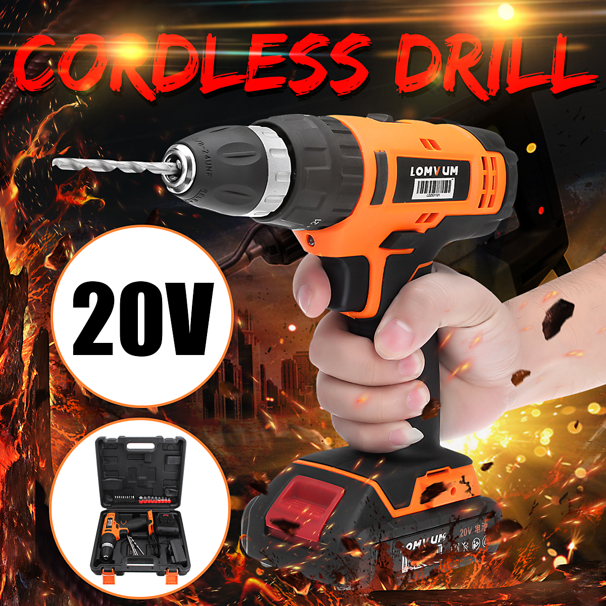 20V Rechargeable Lithium Battery Impact Electric Drill Cordless Electric Screwdriver Mini Drill Drilling Tools with LED Light