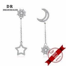 DR 100% äkta 925 Sterling Silver Asymmetriska Star och Moon Stud örhängen för kvinnor AB Style Fashion Ear Smycken för Kvinna