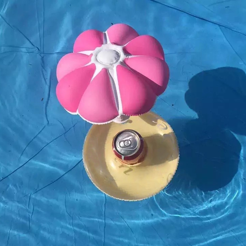 1Pcs Mini Cute Swimming Pool Mushroom Tree Floating Inflatable Drink Holder Bathroom Beach Party Kids water Toy Cup Care Row