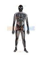 Nieuwe Skelet Superhero Kostuum hot koop Spandex mens Skelet kostuum fullbody halloween cosplay zentai pak gratis verzending