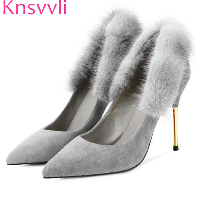 cd54fe392ffd Pointed end cony hair grey color women high heel shoes grace black cow  suede metal heel stiletto banquet shoes feminino