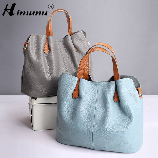 2017 Summer Women Handbag Genuine Leather Tote Shoulder Bag Bucket Ladies  Purse Casual Shopping Bag Satchel 98538de6d59e8