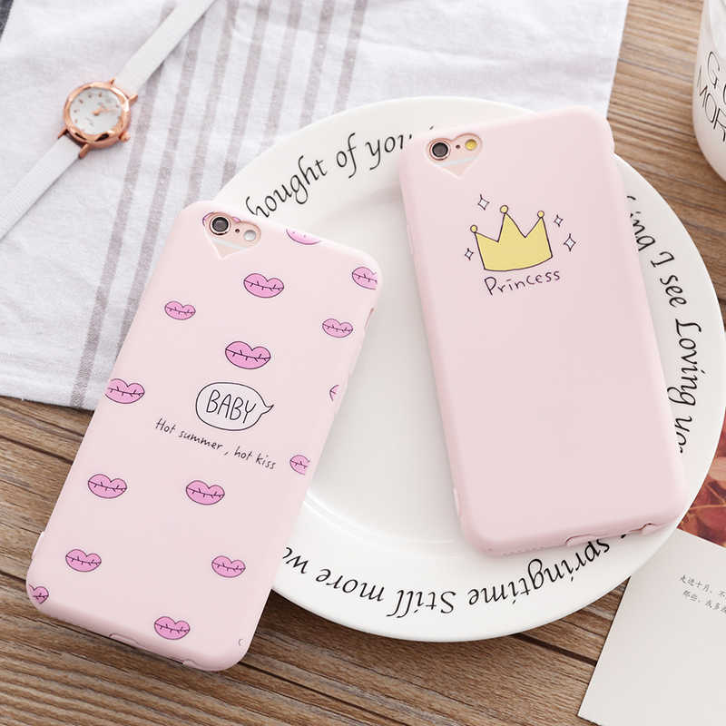 Phone Case for iphone 5 5s SE 6 6s 7 8 Pus Princess Crown Girl Cute Cartoon Design Printing Soft Silicone Case For iphone 8