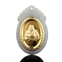 Ornaments pendant gold Jade Buddha genuine Hetian JXY343 accessories + Free Necklace Fine jewelry hanging Free shipping