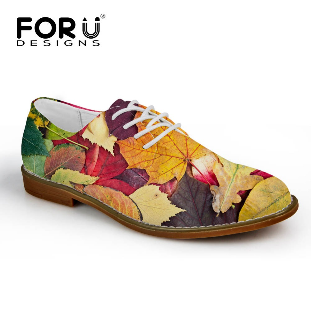 FORUDESIGNS Brand Synthetic Leather Men Casual Shoes Mixed Color Novelty Maple Leaf Printed Oxfords Shoes for Man Lace up Flats men s casual lace up letters printed jogger pants