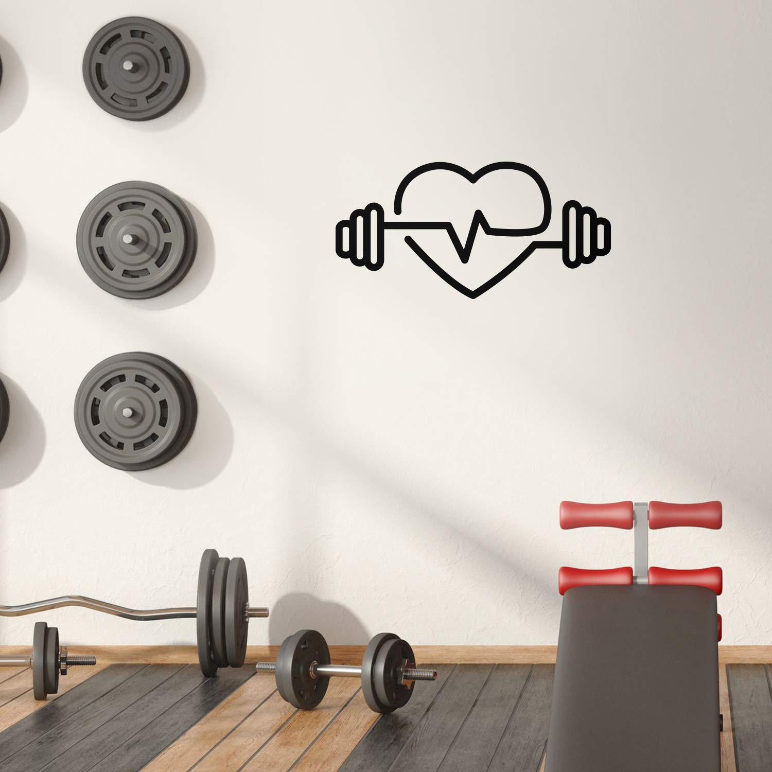 Colorful dumbbell heart Waterproof Wall Stickers Art Decor For Baby Kids Rooms Decal Creative