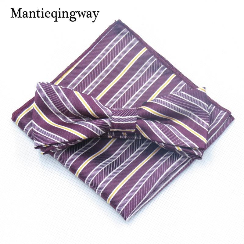 Ehrgeizig Mantieqingway Männer Bowtie Krawatte Cravate Taschentuch Mann Corbatas Krawatte Fliege Und Tasche Platz Set