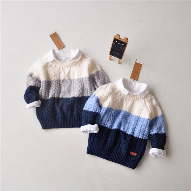 YBG49 Retail 2015 Autumn Brand Boy Sweater Striped Casual Boy Pullover Full Sleeve Children Clothes Boy Top