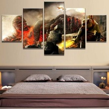5 Piece HD Print Large God Of War Game Poster Painting Canvas Wall Art Picture Home Decoration Living Room