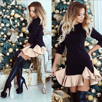 Spring Dress 2017 Brief Style Ball Gown Patchwork Three Quarter Sleeve Mini Dress Fashion Ruffles Black