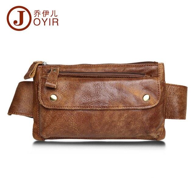 JOYIR Men Genuine Leather Waist Bag Solid Women Men Phone Bag Money Belt Waist Pouch Fanny Pack Men Belt Purse Man Bag PT0575