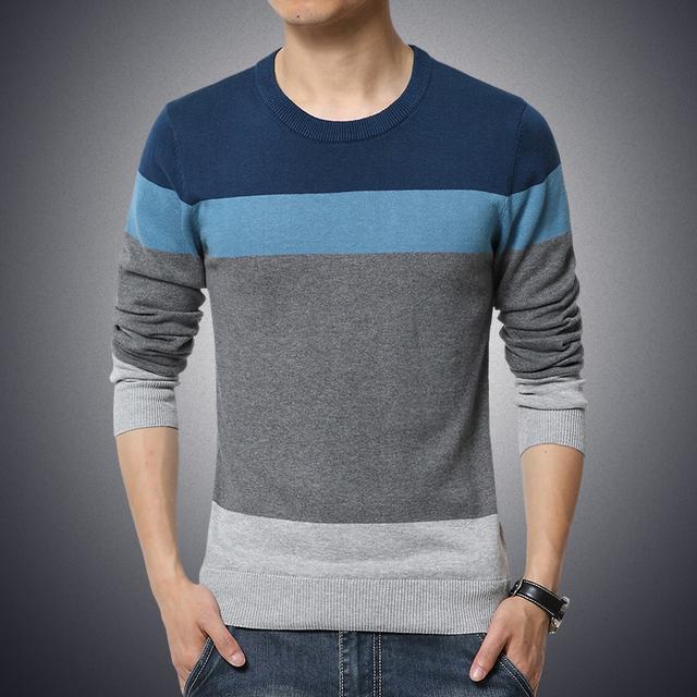 2016 nova moda outono marca camisola ocasional O pescoço listrado Slim Fit Knitting homens suéteres e pulôveres homens Pullover 5XL