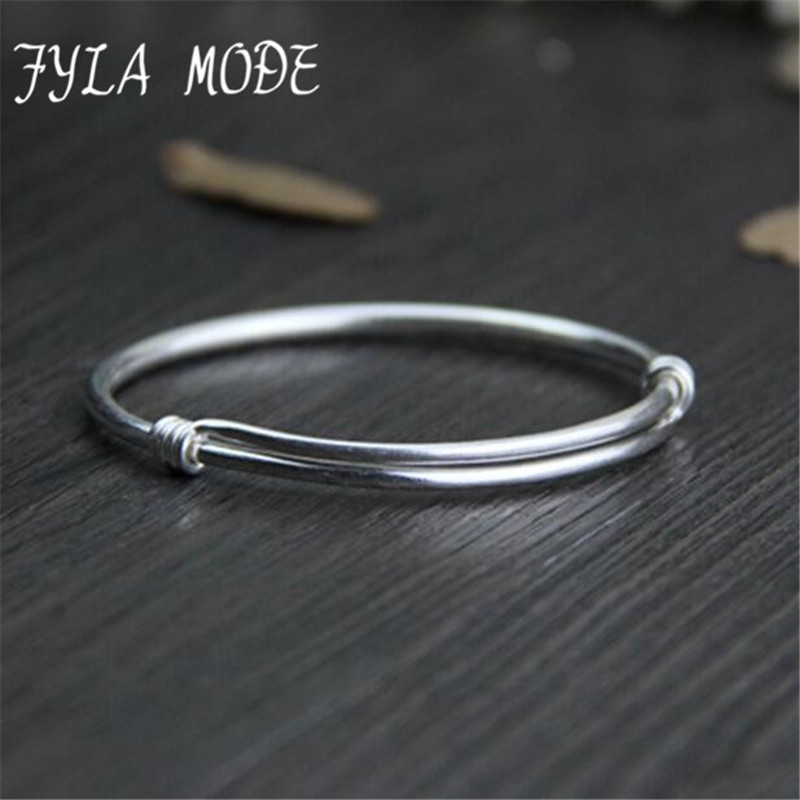 Mode Fyla Gaya Cina 100% 999 Sterling Silver Bangle Gelang Perhiasan Untuk Wanita Wen Pernikahan Adjustble Bangle Perhiasan WT027