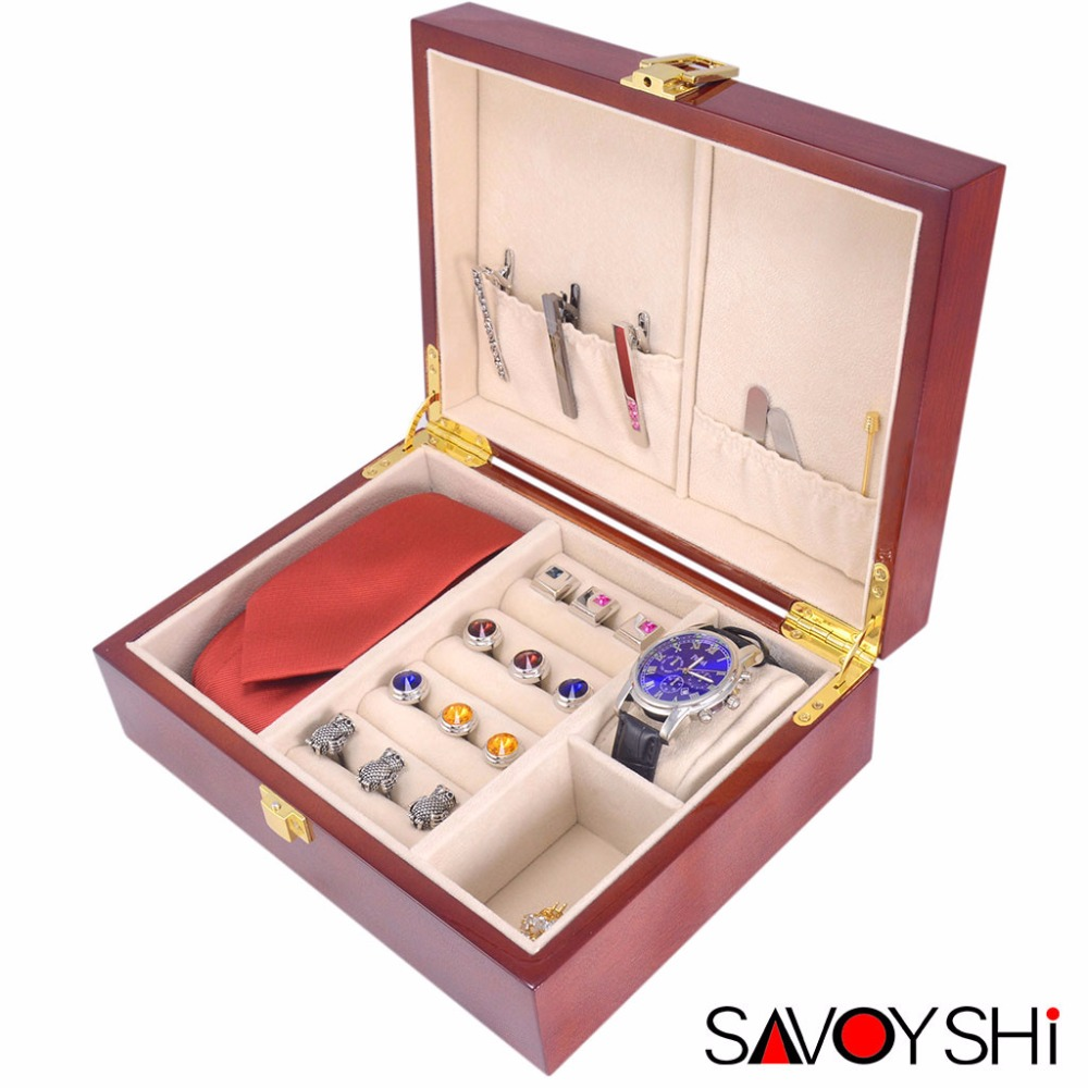 SAVOYSHI Luxury Wood Jewelry Storage Box Case for Cufflinks Tie clips Ring Watch Gift Box High Quality Painted Wooden BoxSAVOYSHI Luxury Wood Jewelry Storage Box Case for Cufflinks Tie clips Ring Watch Gift Box High Quality Painted Wooden Box