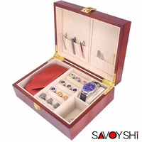SAVOYSHI Luxury Wood Jewelry Storage Box Case For Cufflinks Tie Clips Ring Watch Gift Box High