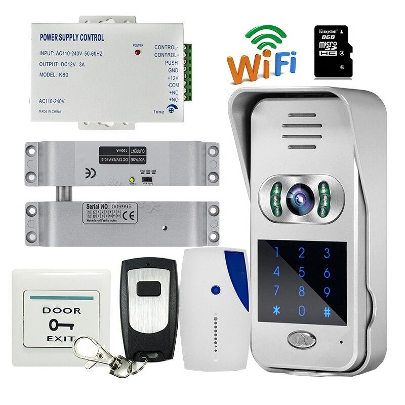 8g Sd E-lock Waterproof Rain Cover Free Shipping New 7 Door Monitor Video Intercom Door Phone Recorder System 2 Monitors
