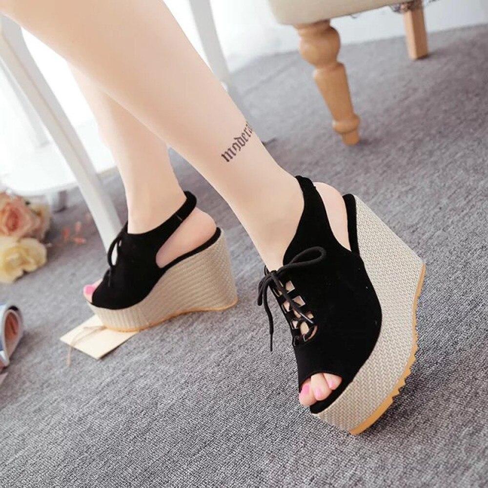 Gruesos Up Zapatos Sandalias 2018 Cabeza Hollow Moda Planos Mujeres Feminino Plataforma Mujer Cuñas Lace B8wg7ZwAq
