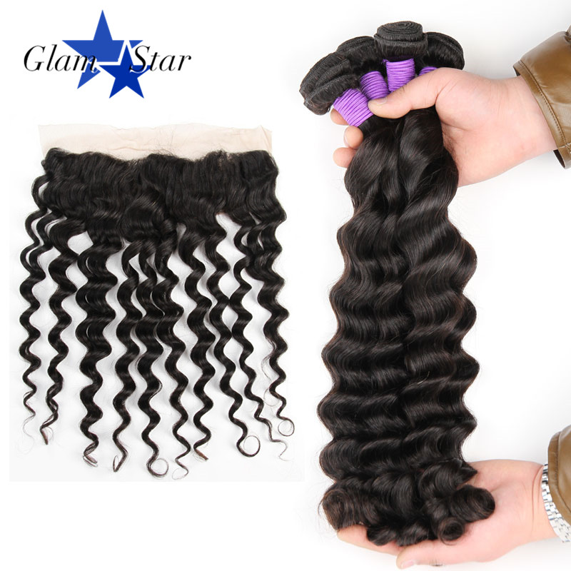Glam Star 3 Bundles Indian Loose Deep Human Hair With Lace Frontal PrePlucked 13x4 Frontal Closure with Baby Hair Non remy