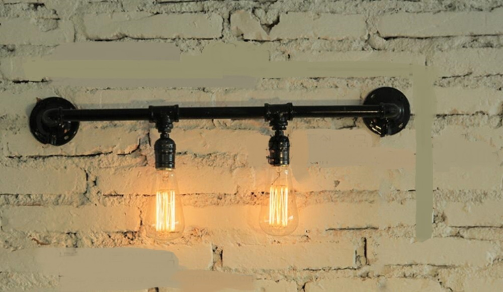 Water pipes light source set produced 75 industrial water wall lamp retro Cafe Loft American iron wall SG29 american style retro desk light wooden base led lamp cafe bar table lamps bedroom industrial water pipes art deco lighting