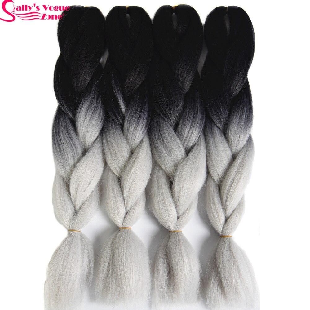 High Temperature Fiber Synthetic Hair Extension Ombre Braiding Hair 2 Tone Black Silver Grey Color Sallyhair 24inch Jumbo Braids