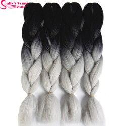 High temperature fiber synthetic hair extension ombre braiding hair 2 tone black silver grey color sallyhair.jpg 250x250