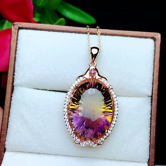 boutique jewelry 925 pure silver inlaid amethyst pendant + necklace drop orchid butterfly
