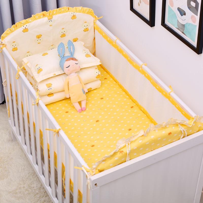 5 pièces/ensemble coton bébé ensemble de literie pour les nouveau-nés confortable infantile lit protecteur bébé berceau ensemble chambre décor linge de lit Kit