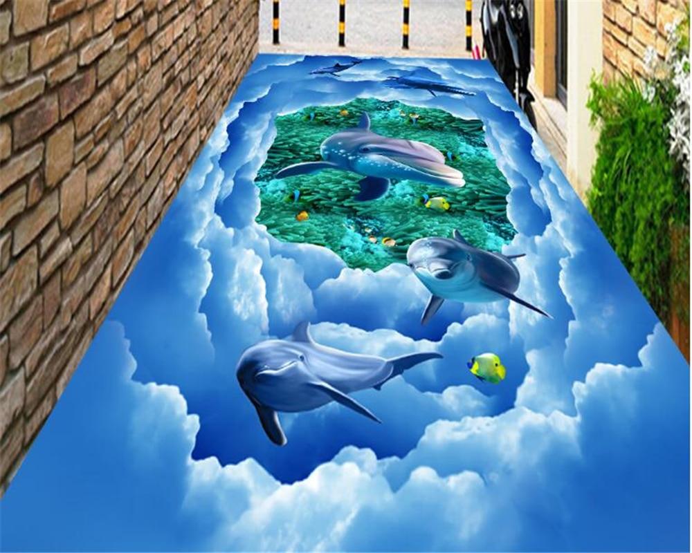 beibehang High end boutique wallpaper fantastic ocean dolphins sky bathroom kitchen 3d flooring papel de parede papier peint in Wallpapers from Home Improvement