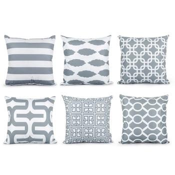 "brixini.com - Grey Geometric Decorative Pillow Cases 18"" x 18"""