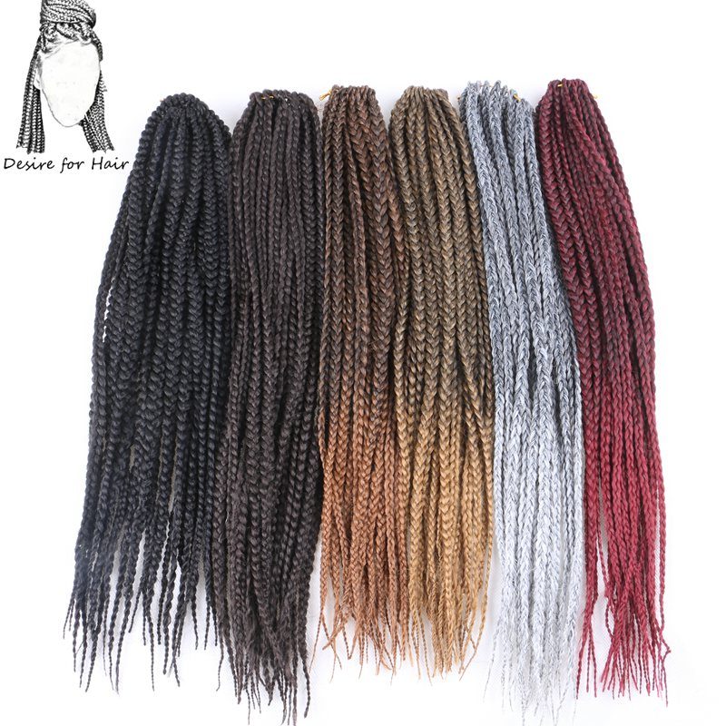 Desire for hair 10packs 18inch 80g 22strands per pack 3x braided crochet box braids synthetic hair extensions ombre black grey