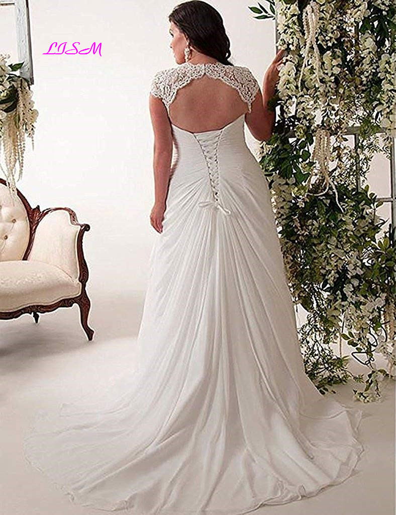 V-Neck Plus Size Chiffon Wedding Dresses Long Capped Sleeves Lace-up Bridal Dress A-Line Ruffled Wedding Gowns 2019