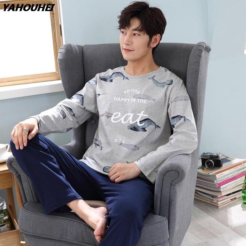 High Quality Cotton Pajama Set For Men 2019 Autumn Winter Long Sleeve Cartoon Print Pyjama Male Loungewear Homewear Home Clothes