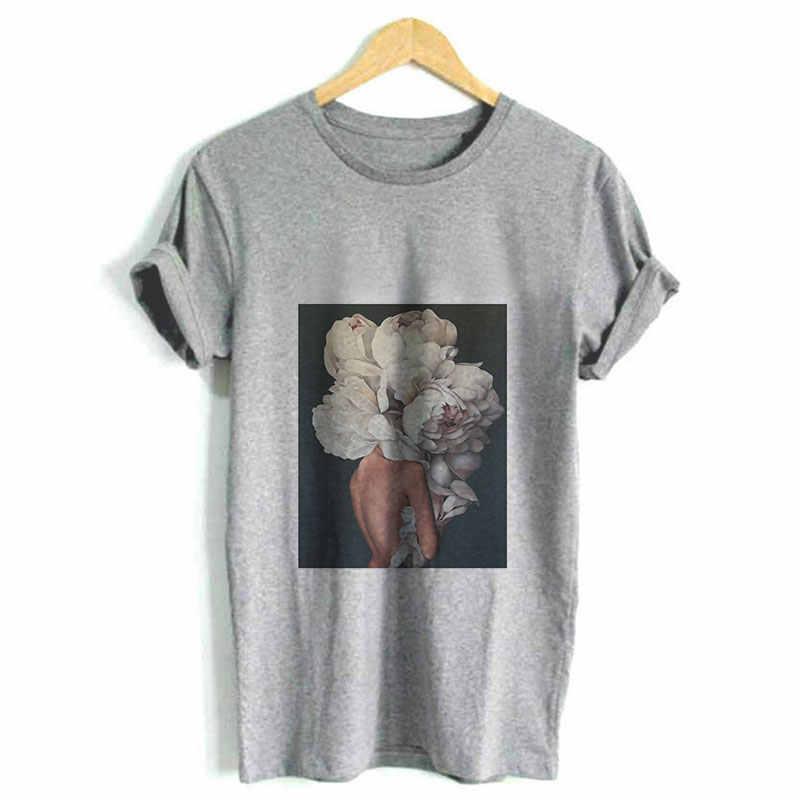 を 2019 夏の女性トップシャツ人体アートフラワー原宿プリント Tシャツ半袖 O ネック女性のためのシャツ 4 色