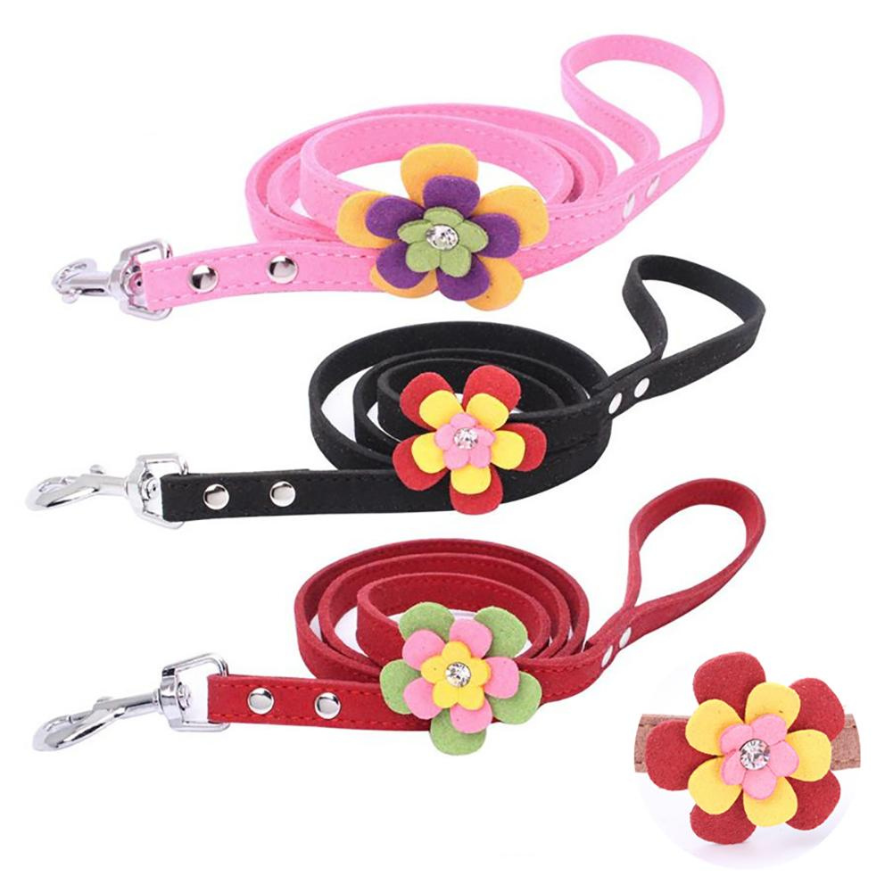 Flower Decor Dog Walking Training Safety Lead Leash Traction Rope Pet Supplies