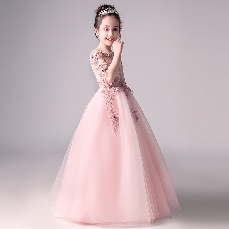 6cf6deb539ed 2018 winter baby girl floral lace princess tutu dress wedding christening  gown dress girls clothes for
