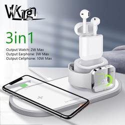 Vvking carregador sem fio para iphone x xs max xr rápido sem fio carga completa 3 em 1 almofada de carregamento para airpods 2019 apple assista 5 4 3 2