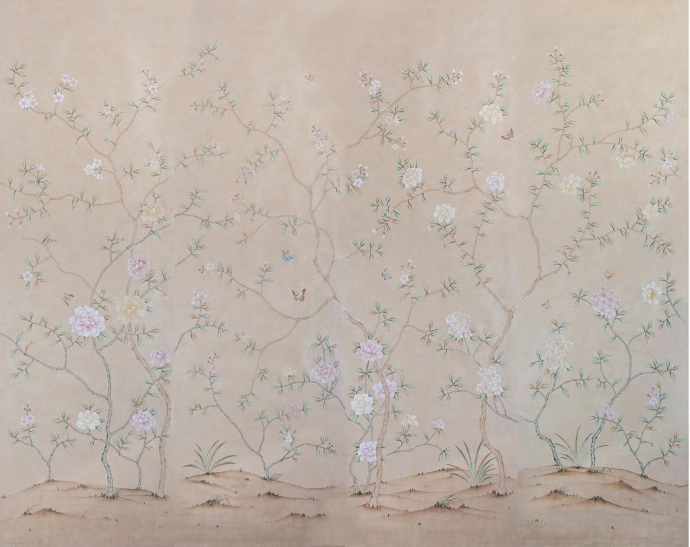 Расписанный вручную шелковый обои дерево с цветами и птицами ручная роспись стены бумажные обои диван/телевизор/спальня backgound - 5