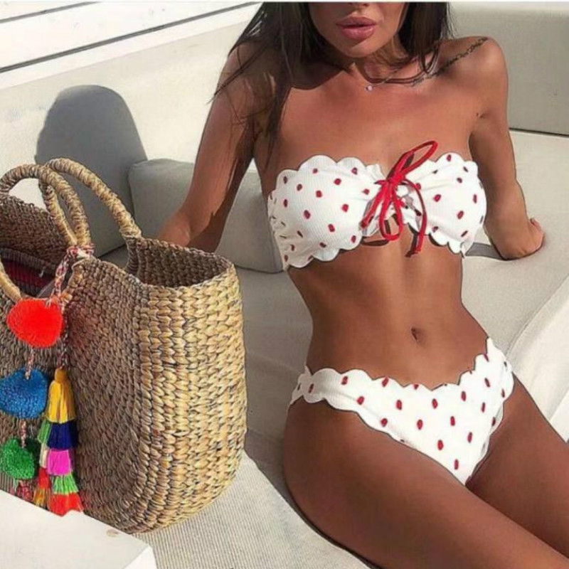 New Bikini 2019 Women's Swimsuits Sexy Women Wave Point Push-Up Padded Bra Beach Bikini Set Two Piece Swimsuits Swimwear Biquini