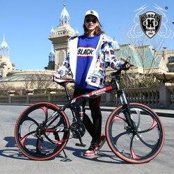 Горный велосипед KUBEEN, 26-дюймовый стальной 21 скоростной велосипед, двойные дисковые тормоза, с переменной скоростью, гоночный велосипед
