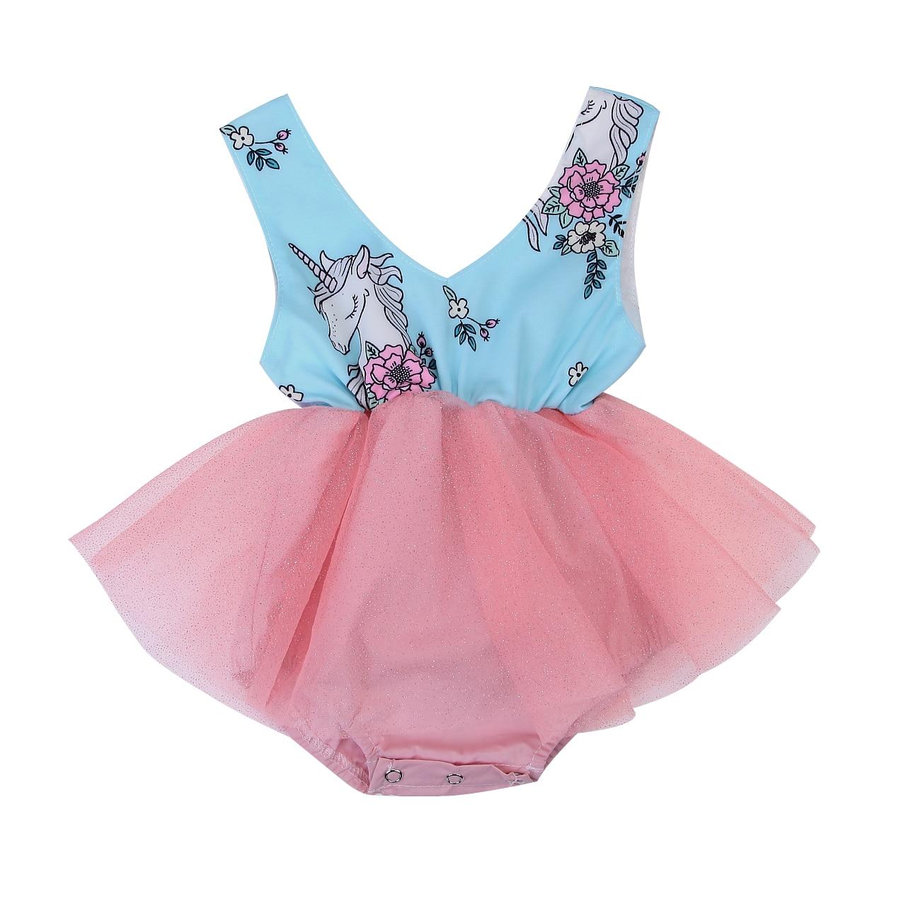 Newborn Baby Girls Kids Unicorn Romper Tulle Lace Tutu ...