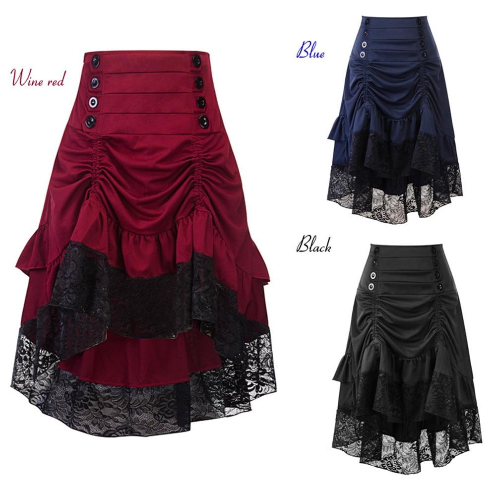 women Lace Up Waist Ruffles Skirts Gothic Style Button Punk Corset Party Skirts Swing Irregular High Low Feminino Skirts
