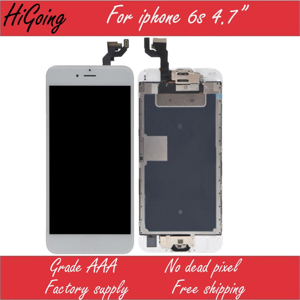 Prix pour Grade a lcd affichage pour iphone 6s lcd écran tactile digitizer remplacement assemblée avec la maison botton + appareil-photo avant + earspeaker + outil