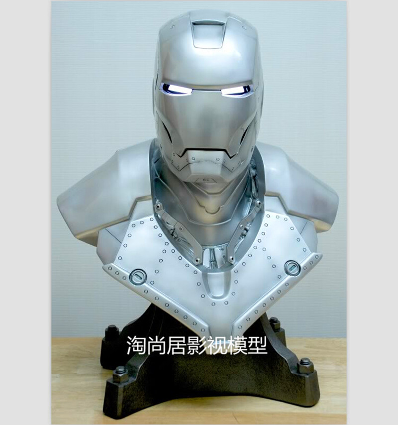 Statue Avengers Avengers Iron Man MK2 Bust Version Of Coloured Drawing Or Pattern Lighting (LIFE SIZE) 1:1 BIG Statue ChestWU557 captain america 3 civil war 1 1 scale spider man bust starscream statue life size half length photo or portrait model wu594