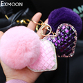 Hot sale real Rabbit Fur Pom Pom Keychain keyring Austrian crystal ornament love hearts car key chain heart-shaped bag hanging