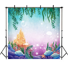 NeoBack Under Sea Mermaid Backdrop Gold Castle Grass Shell Kids Child Birthday Decoration Party Background Photography