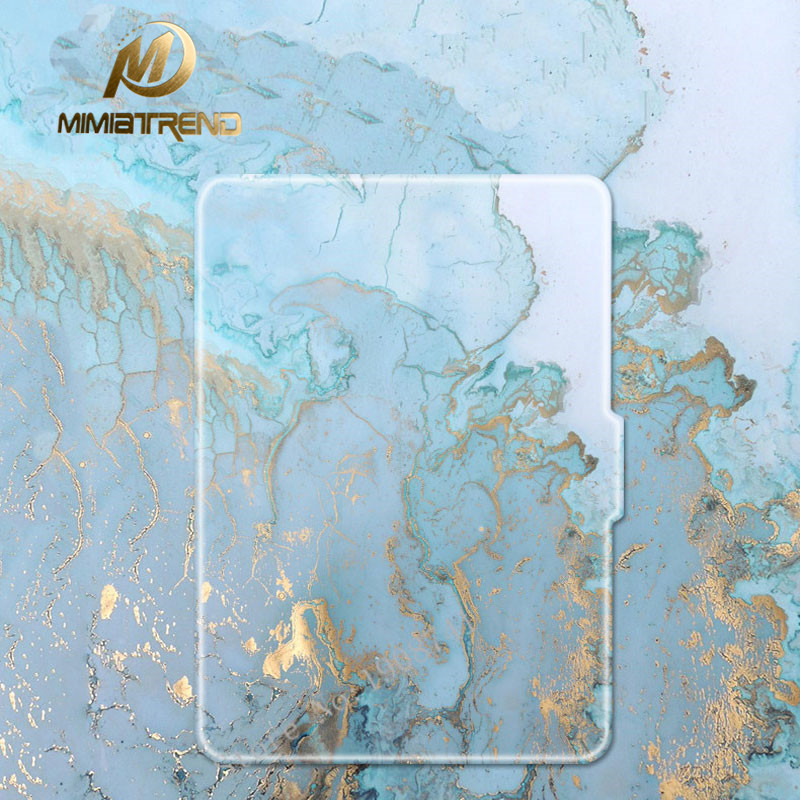 Mimiatrend Blue Marble Grain PU Cover for Amazon Kindle Paperwhite 1 2 3 449 558 Case 6 inch Ebook Tablet Accessories pink marble grain magnet pu flip cover for amazon kindle paperwhite 1 2 3 449 558 case 6 inch ebook tablet case leather case