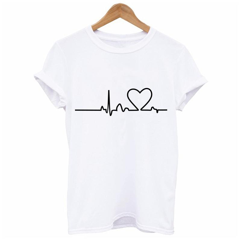 HTB1uUS4QpXXXXavapXXq6xXFXXXo - New Heartbeat Love Printed Women T-shirts Short Sleeve