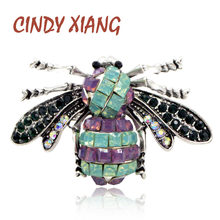 CINDY XIANG Vintage Resin Bee Brooches for Women Insect Brooch Pin Fashion Jewelry Summer T-shirt Accessories New 2018 Gift(China)