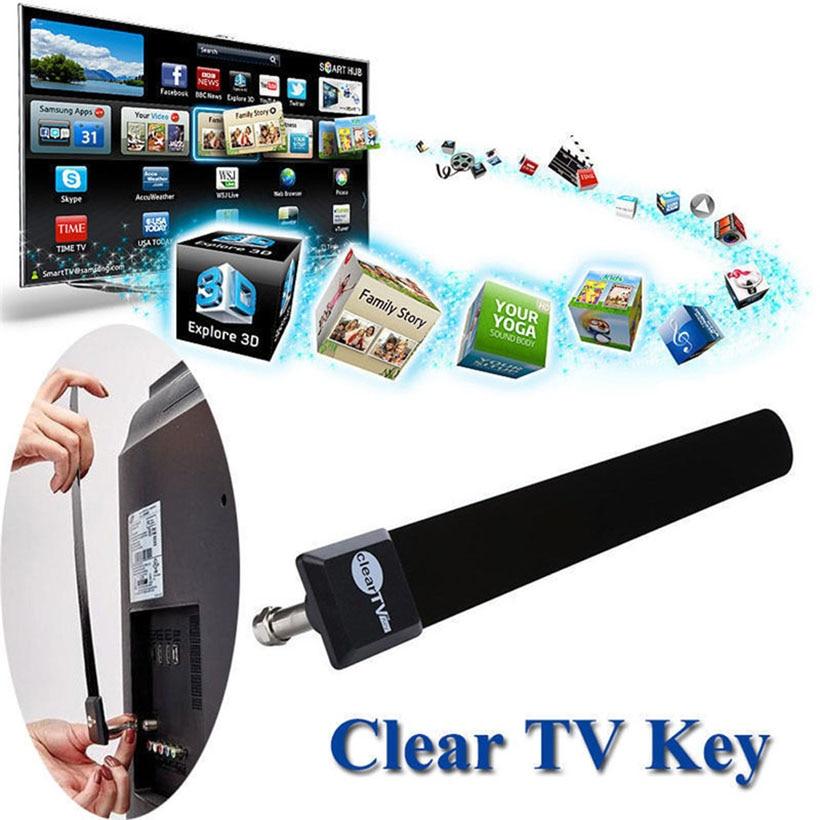 EU US สนับสนุน HDTV ฟรีทีวีเสาอากาศภายในอาคารดิจิตอล Ditch Cable As Seen on  TV สีดำ Clear TV Key ~