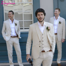 Linyixun 2017 Latest Coat Pant Designs Ivory Beige Beach Linen Suits Men Wedding Suit Bestman Groomsmen Marriage Tuxedo Custom 3(China)